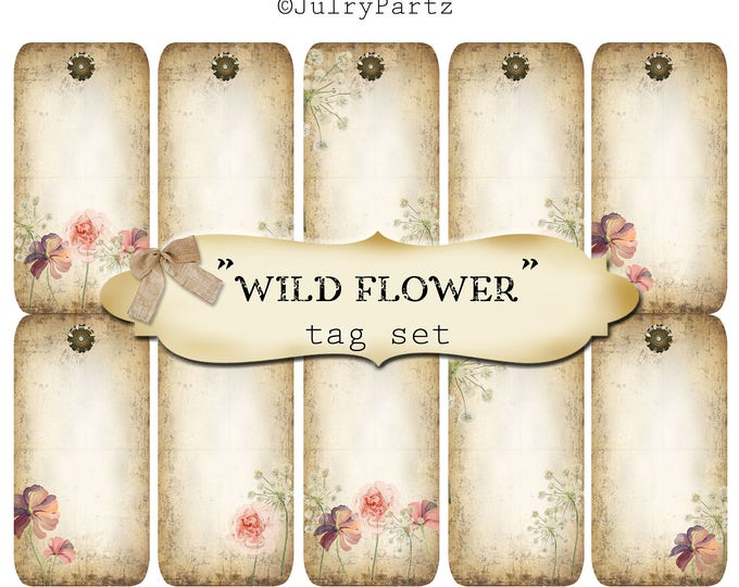 10 DIY•2x4 Tags•WILDFLOWER Tag Set #1•Thank You Tags•Printable Tags•Digital Tags•Favor Tags•Gift Tags