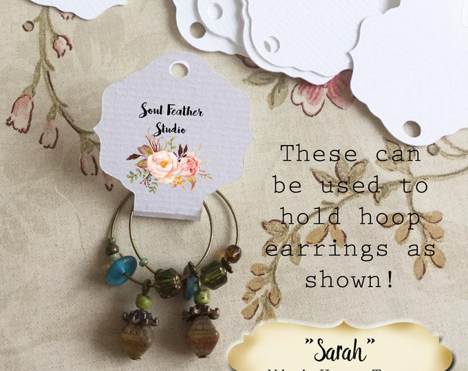 36•3.25L x 1.5W•SARAH•Hang Tags•Jewelry Cards•Earring Display•Necklace Tag•Hoop Earring Holder
