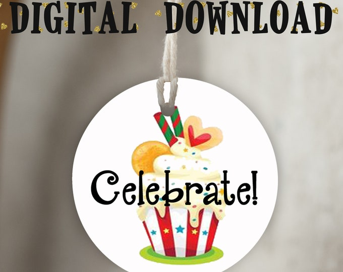 DIY Celebrate Cupcake•Thank You Tags•Printable Tags•Digital Tags•Favor Tags•RED STRIPE