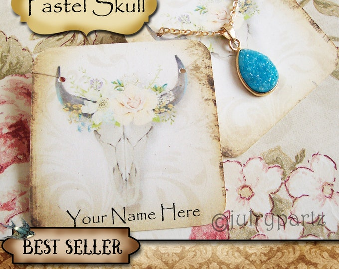 60•PASTEL SKULL•Necklace Card•Earring Cards•Jewelry Cards•Display Card•Display•Earring Holder•Necklace Holder•2x2 or 3x3