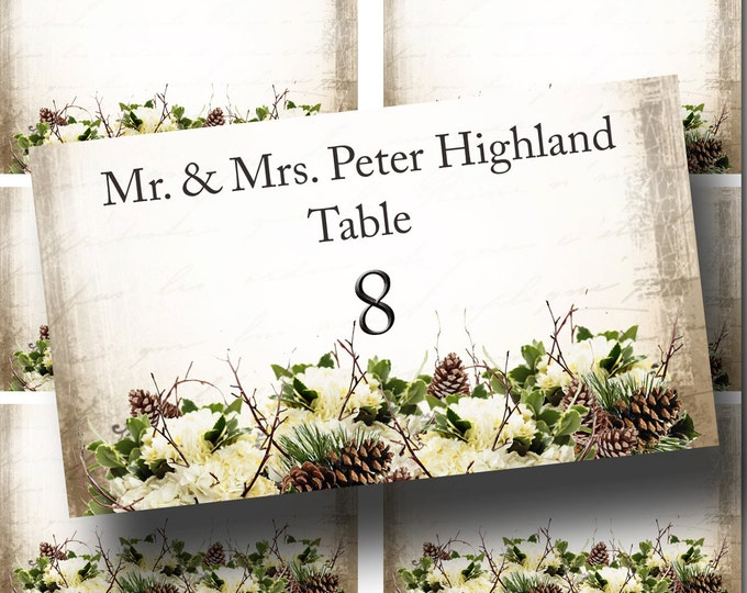 Guest Table FLAT Placard, 3.5x2, WINTER Wedding, Printable, Weddings, Bridal Shower, Baby Shower, Seating Numbers, wedding decoration