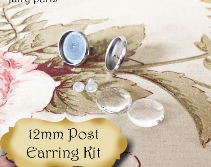 12mm Stainless Steal Stud Set•Post Earring Kit
