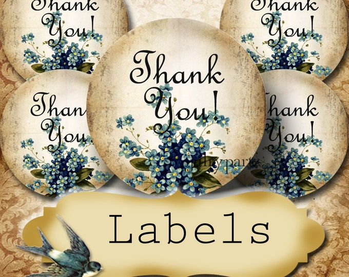 PREMADE •60 Custom 1.5 x 1.5 Round STICKERS•Round Labels•Tags•Package Labels•Custom Stickers•Custom Labels•Packaging•Forget Me Not