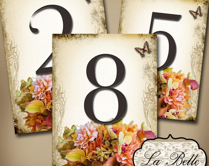 LA BELLE Wedding Table Number, 5x7, Printable, Weddings, Parties, Bridal Shower, Baby Shower, Seating Numbers, wedding decoration