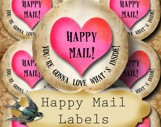 Happy Mail •60 Custom 1.5 x 1.5 Round STICKERS•Round Labels•Tags•Package Labels•Custom Stickers•Custom Labels•Packaging•PINK HEART