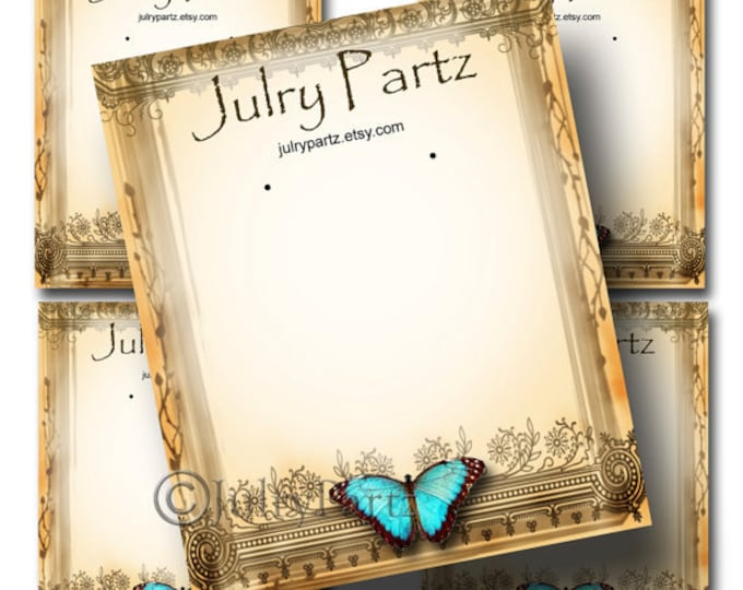 DIY Teal Butterfly #3,Earring Cards,Jewelry cards,Tent Card,Earring Display,Earring Card,Necklace Holder, DIY Jewelry Cards, Printable Cards