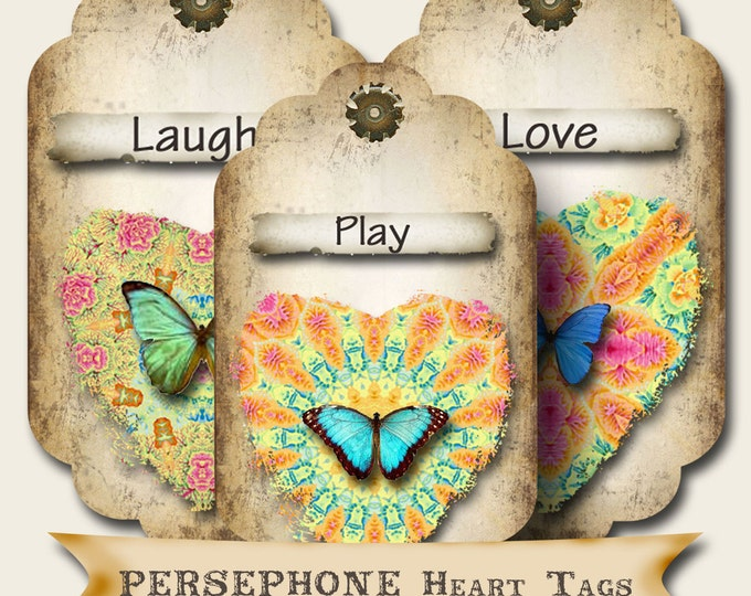 8 PERSEPHONE Heart Tags, Thank you tags, hang tags, flower tags, favor tags, gift tags, scrapbooking images