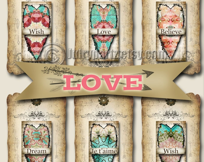 8 LOVE Tags, Thank you tags, hang tags, flower tags, favor tags, gift tags, scrapbooking images