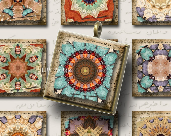 Legendary CAIRO 1x1 square Mandalas, Printable Digital Images, Cards, Gift Tags,Stickers, Scrabble Tiles, Magnets