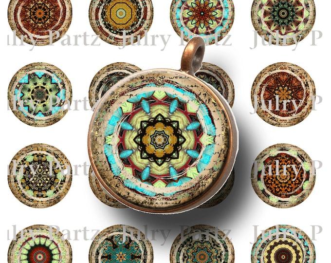 ANCIENT Marrakech Mandalas 1x1 Round,Printable Digital Images, Cards, Gift Tags, Bottle Cap, Yoga, Meditation