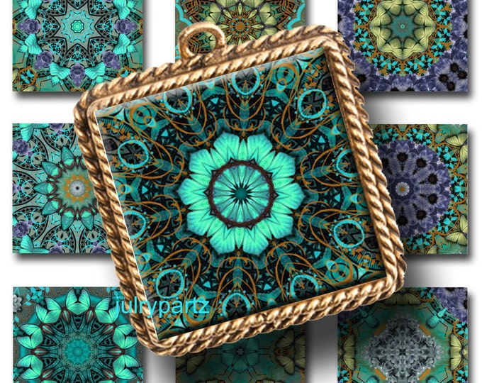 MIDNIGHT GLOW, 1x1 Square,Printable Digital Image,Healing Mandalas,Magnets,Gift Tags,Scrabble Tiles,Yoga, Meditation