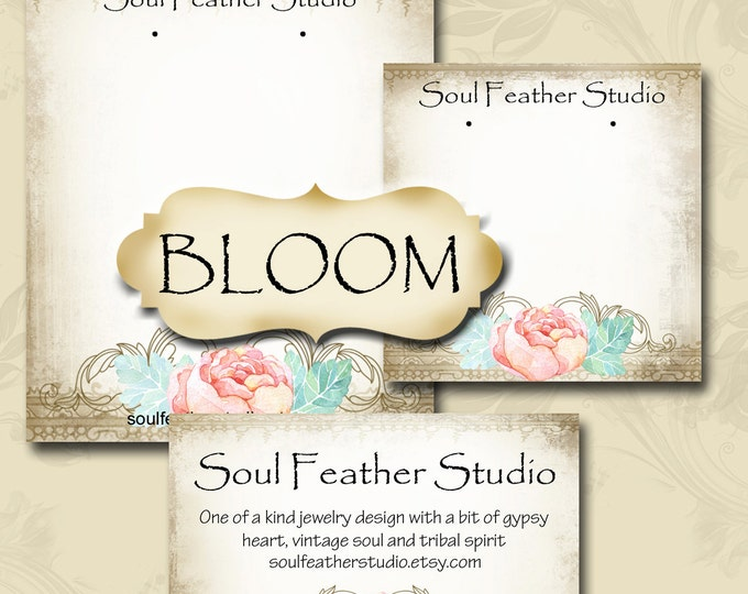 BLOOM,Earring Cards,Jewelry cards,Earring Display,Earring Holder,Business Card, Custom Earring Card, Jewelry Tag