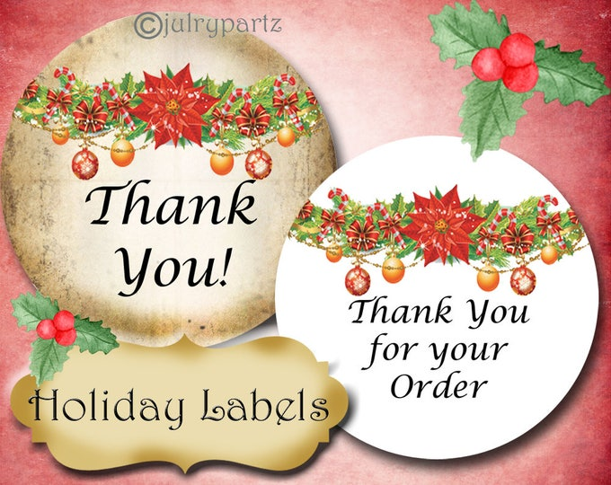 PREMADE•60 Custom 1.5 x 1.5 Round STICKERS•Labels•Tags•Package Labels•Custom Stickers•Custom Labels•Christmas Garland