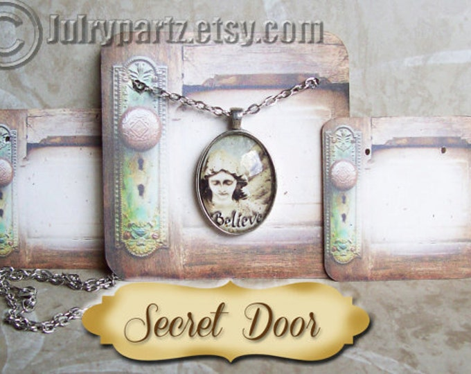 24-SECRET DOOR Necklace and Earring Cards, Jewelry cards,Necklace Card, Display, Earring Holder, Necklace Holder