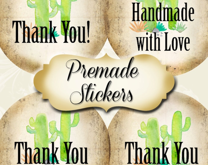 PREMADE•60 Custom 1.5 x 1.5 Round STICKERS•Labels•Tags•Package Labels•Custom Stickers•Custom Labels•Double CACTUS Rustic