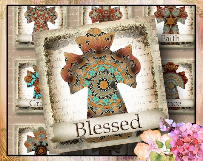 Blessed COWGIRL DREAMS Cross, 1.75 x 1.75 square, Printable Digital Images, Cards, Gift Tags, Stickers, Magnets, junk gypsy style, southwest