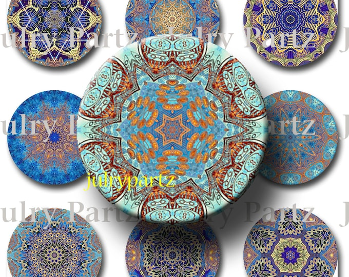 INDIGO SOUL,Third eye Chakra Mandalas 1x1 round,Printable Digital Image,Healing Mandalas,Magnets,Gift Tags,Scrabble Tiles,Yoga, Meditation