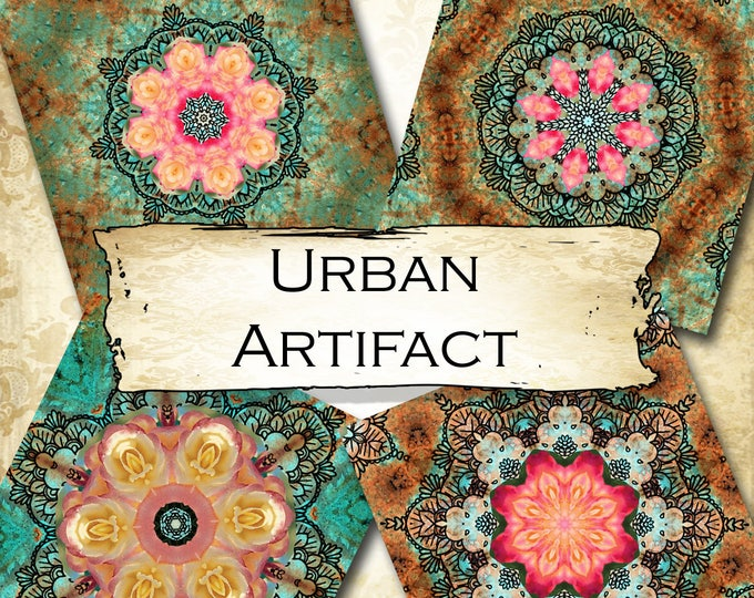 URBAN ARTIFACT•4x4 Square•Printable Digital Images•Cards•Gift Tags•Coasters•SET 1