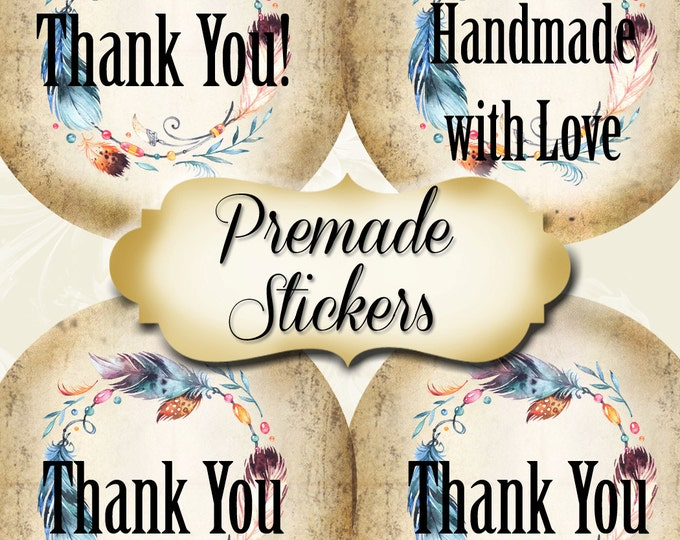 PREMADE•60 Custom 1.5 x 1.5 Round STICKERS•Labels•Tags•Package Labels•Custom Stickers•Custom Labels•FEATHER Wreath1 Rustic