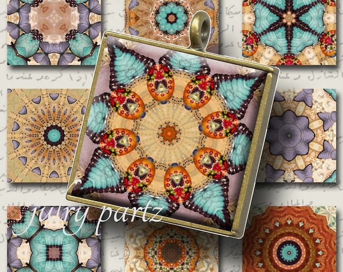 CAIRO 1x1 square Mandalas, Printable Digital Images, Cards, Gift Tags, Scrabble Tiles, Magnets, southwest,junk gypsy style