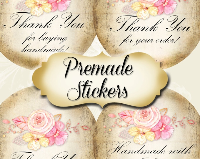 PREMADE•60 Custom 1.5 x 1.5 Round STICKERS•Labels•Tags•Package Labels•Custom Stickers•Custom Labels•PINK Lace Rose 1 Rustic