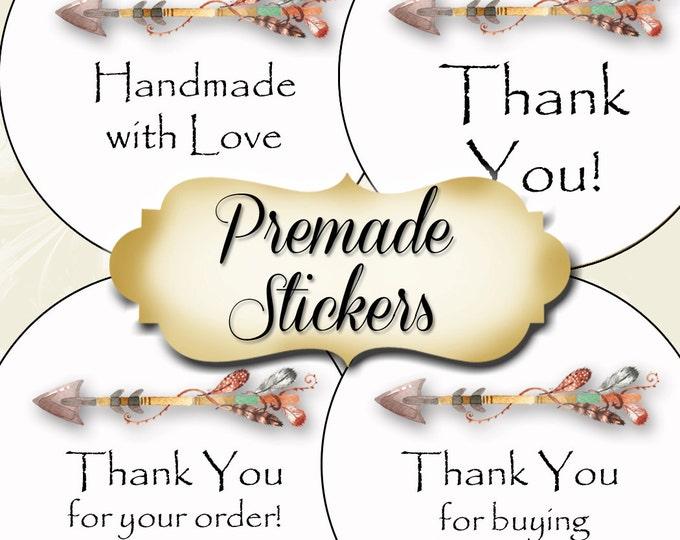 PREMADE•60 Custom 1.5 x 1.5 Round STICKERS•Round Labels•Tags•Package Labels•Custom Stickers•Custom Labels•Packaging•Arrow 1 Series