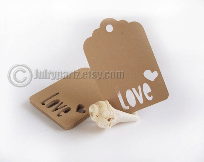 25 LOVE Tags, Gift Tags, Shower Favor Tags, Favor Tags, Heart Tags, Wedding Tags