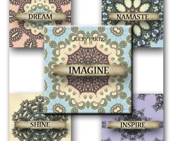 Pastel Mandalas 1x1 Square, Affirmation,Printable Digital Images, Cards, Gift Tags, Scrabble, Yoga, Meditation