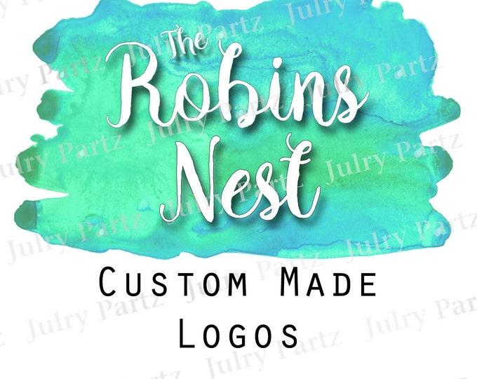 LOGO in ROBINS Nest•Premade Logo•Jewelry Card Logo•Watercolor Logo•Custom Logo•Shop Logo