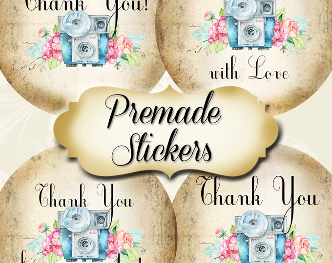 PREMADE•60 Custom 1.5 x 1.5 Round STICKERS•Labels•Tags•Package Labels•Custom Stickers•Custom Labels•CAMERA1 Rustic