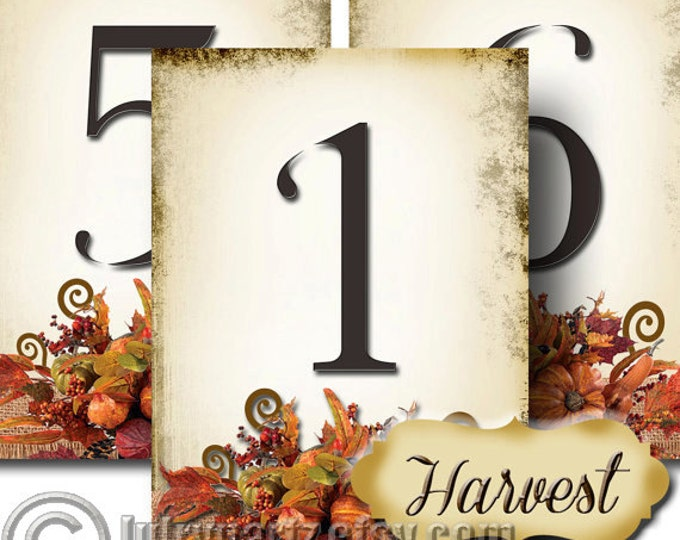 HARVEST, Wedding Table Number, 5x7, Printable, Weddings, Parties, Bridal Shower, Baby Shower, Seating Numbers, wedding decoration
