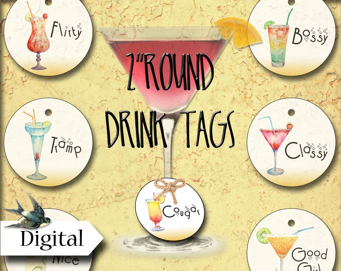 DIY PARTY GIRLS Drink Markers•Drink Tags•Printable Tags•Digital Tags•Favor Tags•Set 1