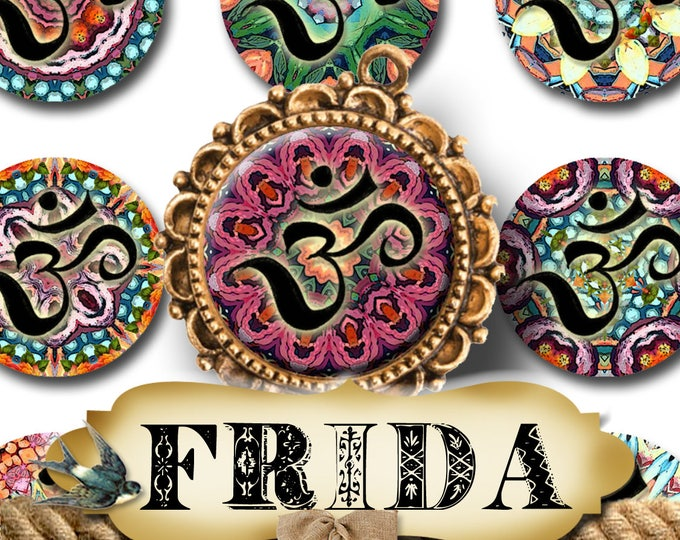 FRIDA OM•1x1 Circle Images•Printable Digital Images•Cards•Gift Tags•Stickers•Magnets•Digital Collage Sheet•Mandala