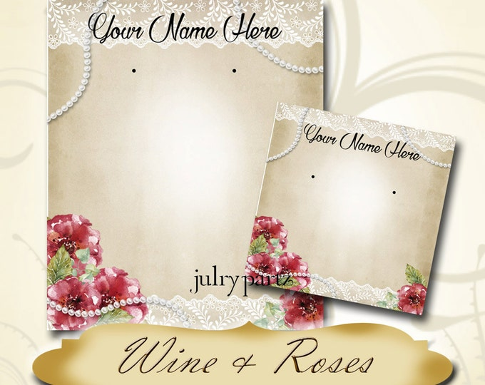WINE & ROSES•Earring Cards•Jewelry Card•Earring Display•Earring Holder•Custom Earring Card•Boutique Card•Tags•Custom Tags•Custom Labels