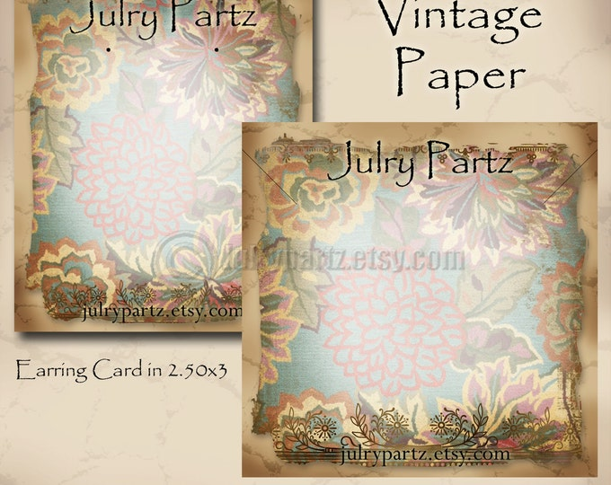 VINTAGE PAPER #1•Earring Card•Jewelry cards•Earring Display•Earring Holder•Necklace Holder•Custom Earring Card