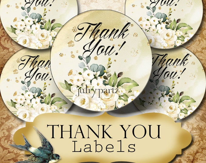 PREMADE •60 Custom 1.5 x 1.5 Round STICKERS•Round Labels•Tags•Package Labels•Custom Stickers•Custom Labels•Packaging•Cotton Rose