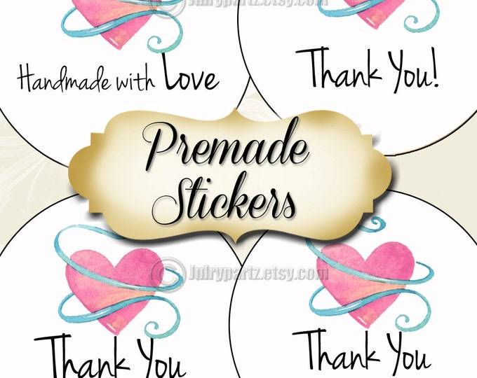 PREMADE•60 Custom 1.5 x 1.5 Round STICKERS•Round Labels•Tags•Package Labels•Custom Stickers•Custom Labels•Packaging•Pink HEART Series