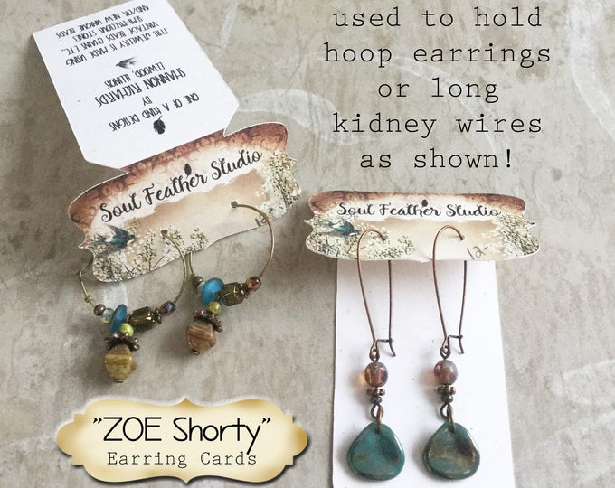 24•ZOE Shorty•2.5 x 1 inch•EARRING CARDS•Jewelry Cards•Earring Display•Earring Card•Earring Holder