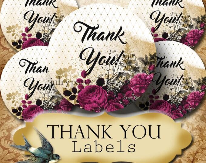 PREMADE •60 Custom 1.5 x 1.5 Round STICKERS•Round Labels•Tags•Package Labels•Custom Stickers•Custom Labels•Packaging•Dark Purple Roses