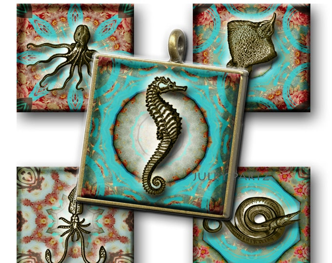 NEMO'S Sea Creatures 1x1 , Printable Digital Images, Cards, Gift Tags, Scrabble Tiles, Magnets