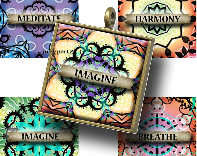 BRIGHTS with Affirmations 1x1 , Printable Digital Images, Cards, Gift Tags, Scrabble Tiles, Yoga, Meditation