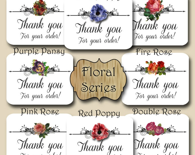 30•Floral Series•STICKERS•Rectangle Labels•Tags•Package Labels•Custom Stickers•Custom Labels•Packaging