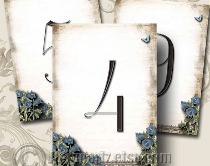 Le Jardin BLUEBELLS Wedding Table Number, 5x7, Printable, Weddings, Parties, Bridal Shower, Baby Shower, Seating Numbers, wedding decoration