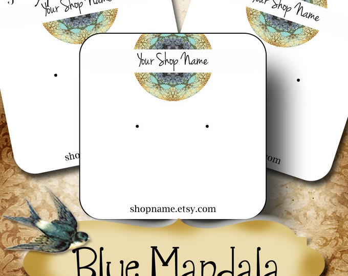 60•BLUE MANDALA•Necklace Card•Earring Cards•Jewelry Cards•Display Card•Display•Earring Holder•Necklace Holder•2x2 or 3x3