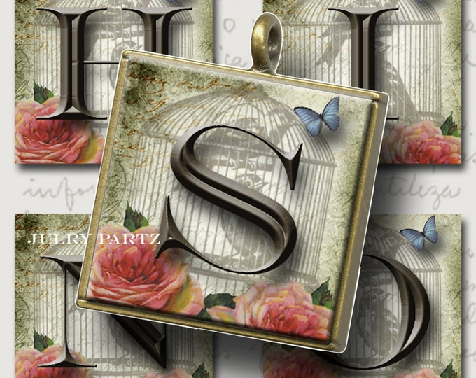 ROSIE DAYS 1x1 square, Printable Digital Images, Cards,Compact Mirrors, Gift Tags, Scrabble Tiles, Initials, Alphabet,Letters