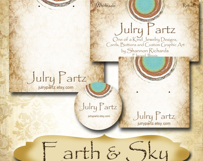 EARTH & SKY Series 3•Custom Tags•Labels•Earring Display•Clothing Tags•Custom •Boutique Card•Tags•Custom Tags•Custom Labels