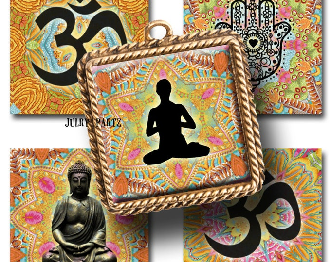 GYPSY SOUL Meditation, 1x1square images, Printable Digital Images, Cards, Gift Tags, Stickers, Scrabble Tiles, Magnets