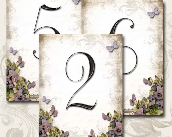 Le Jardin VIOLETS Wedding Table Number, 5x7, Printable, Weddings, Parties, Bridal Shower, Baby Shower, Seating Numbers, wedding decoration