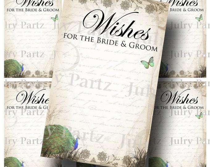 PEACOCK 2 Wedding Wish Tags, 2x3.25, Wish Tree Cards, Printable, DIY Weddings, Bridal Shower, Wedding Shower, Wedding Decoration