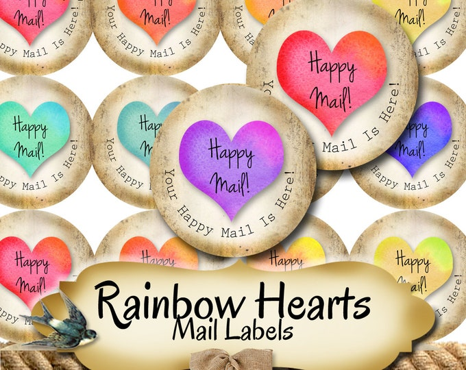 Happy Mail •60 Custom 1.5 x 1.5 Round STICKERS•Round Labels•Tags•Package Labels•Custom Stickers•Custom Labels•Packaging•Rainbow Hearts